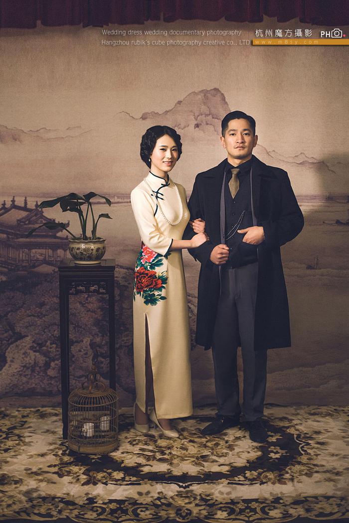 中国风复古怀旧旗袍婚纱摄影 中式个性婚纱照-客照.