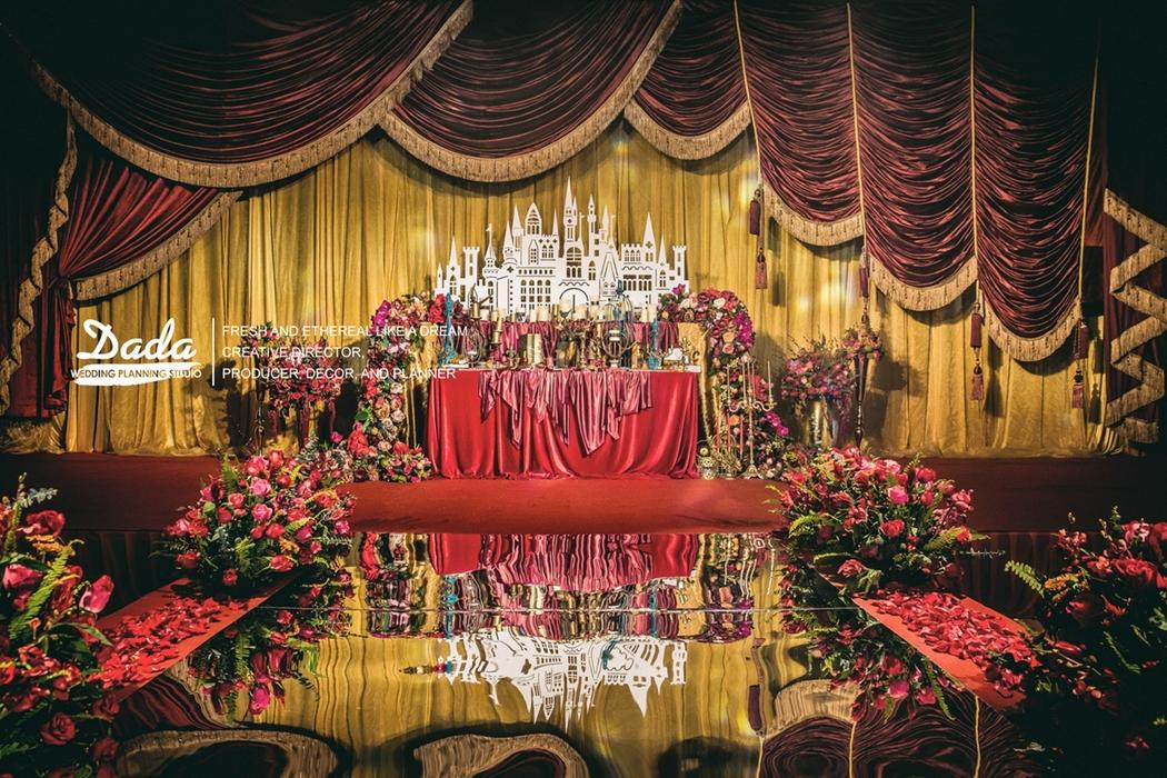 背景墙欧式宫廷风婚礼帷幔