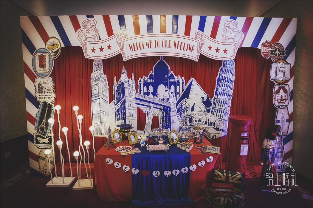 甜品桌英伦主题婚礼英伦风背景墙