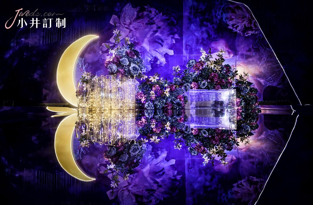 唯美梦幻风婚礼星空主题婚礼月亮背景墙