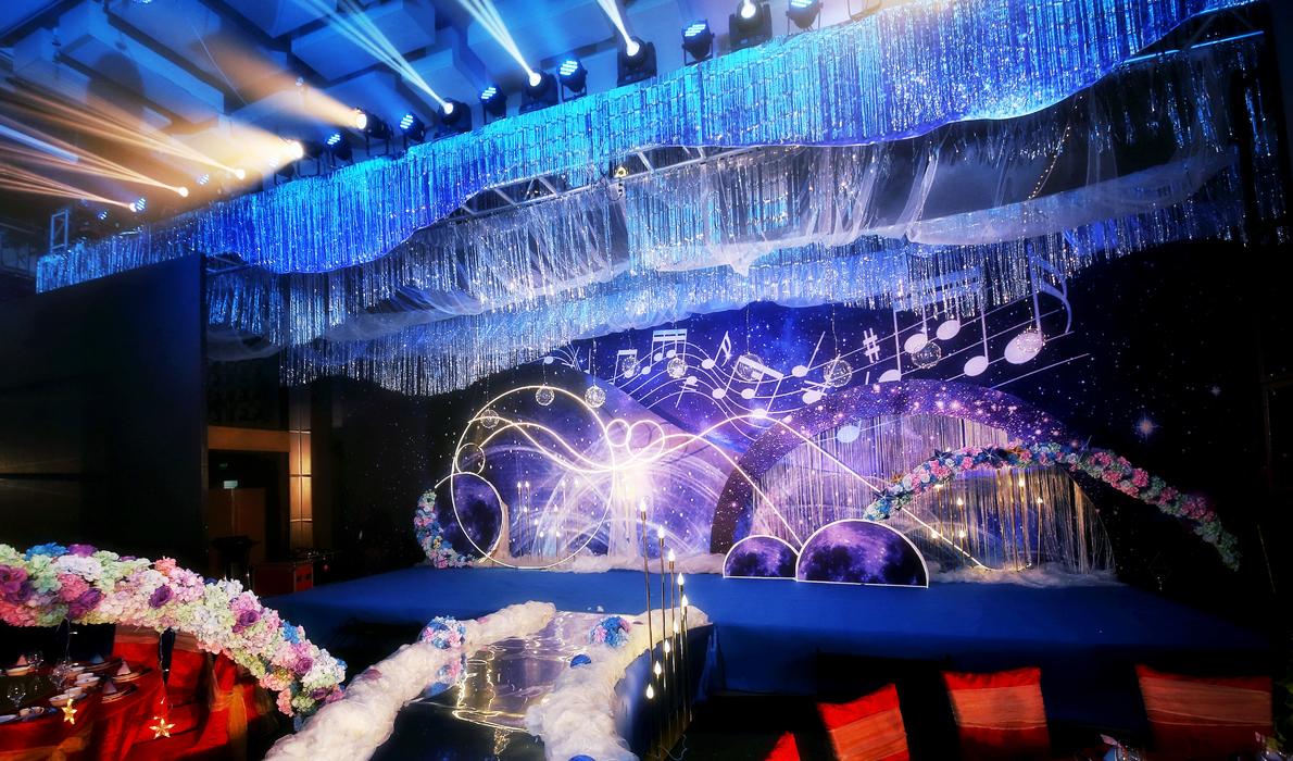 音乐主题婚礼星空主题婚礼背景墙